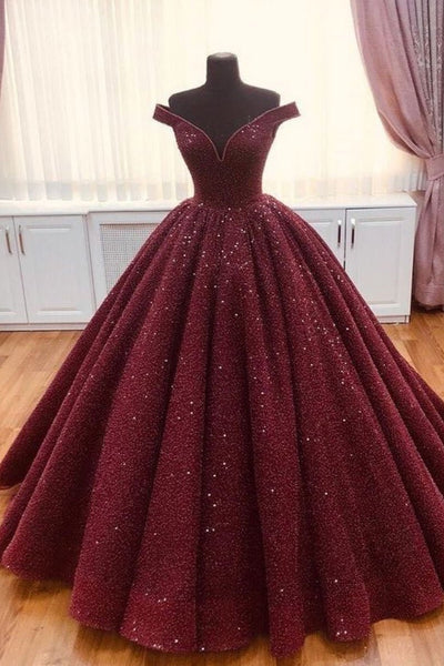 Burgundy tulle sequin long prom dress, burgundy long evening dress B376