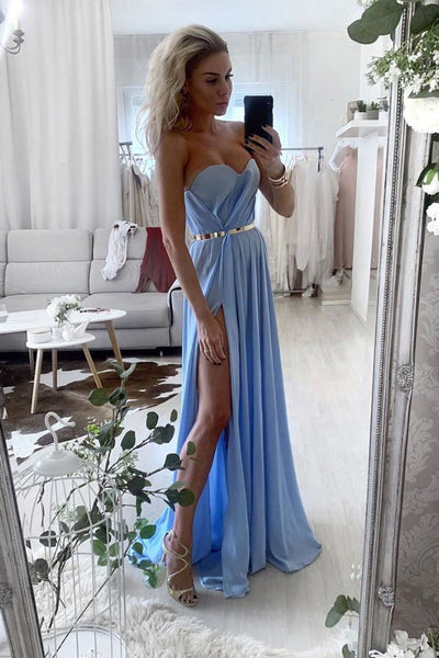 Blue chiffon long prom dress blue evening dress B379