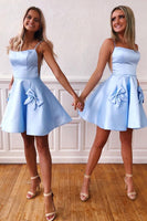 Simple blue satin short prom dress, blue homecoming dress B388