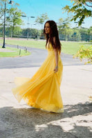 Simple yellow chiffon long prom dress, yellow formal dress B393