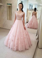 Cute Pink Lace Two Pieces Long Tulle Prom Dress, Party Dress B39