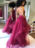 Deep Red Tulle Open Back Long Spaghetti Straps Prom Dress B40