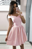 Pink simple satin short prom dress, pink homecoming dress B400