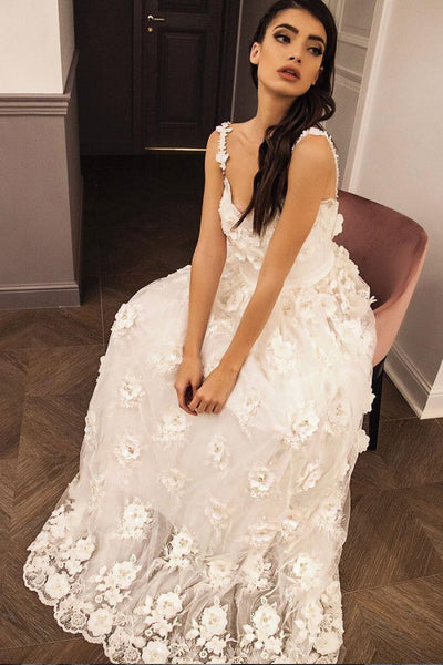 White sweetheart lace long prom dress, white tulle formal dress B401