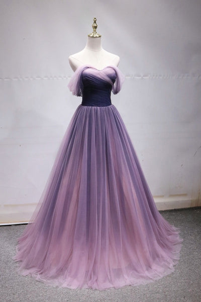 Simple off shoulder tulle long prom dress, tulle formal dress B415