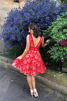 Red v neck tulle lace short prom dress, red homecoming dress B417