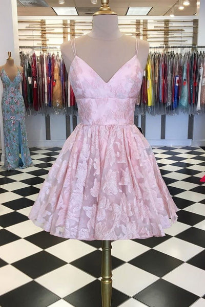 Pink v neck lace short prom dress, pink lace homecoming dress B418