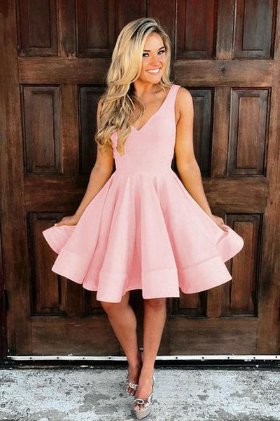 Simple v neck pink short prom dress, pink homecoming dress B419