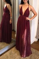 Burgundy v neck tulle lace long prom dress, tulle evening dress B424