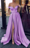 Charming Off the Shoulder Satin Prom Dress Long Prom Dresses B432