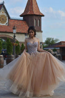 Champagne sweetheart tulle sequin beads long prom dress, formal dress B439