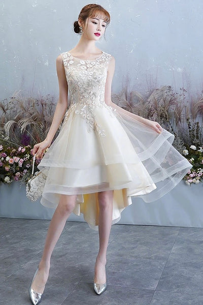 Simple Champagne Tulle Lace Round Neck High Low Prom Dress, Homecoming Dress B44