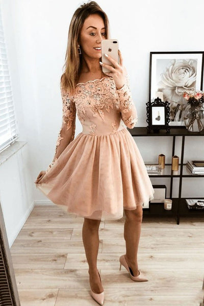 Champagne tulle lace short prom dress, champagne homecoming dress B461