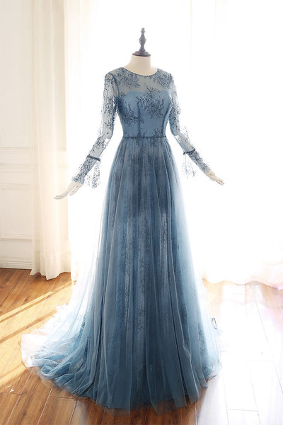 Blue tulle lace Long sleeve prom dress, blue bridesmaid dress B465