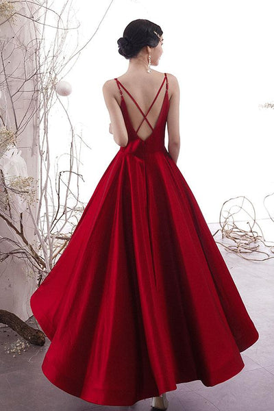 Simple burgundy satin prom dress, burgundy evening dress B467