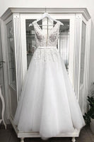 White v neck tulle tea Length prom dress, tulle evening dress B470