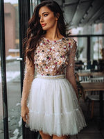 Unique tulle short homecoming dress, white lace homecoming dress B479