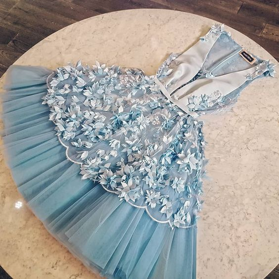 Unique tulle short homecoming dress,blue lace homecoming dress B482
