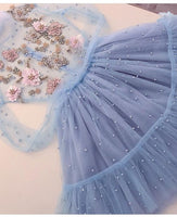 Unique tulle short homecoming dress,blue lace homecoming dress B487