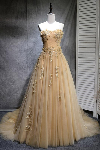 Champagne tulle lace long prom dress, tulle evening dress B489