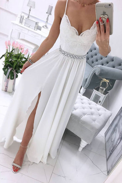 White v neck chiffon lace long prom dress, white formal dress B493