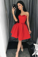 red sweetheart short homecoming dress, black homecoming dress B506