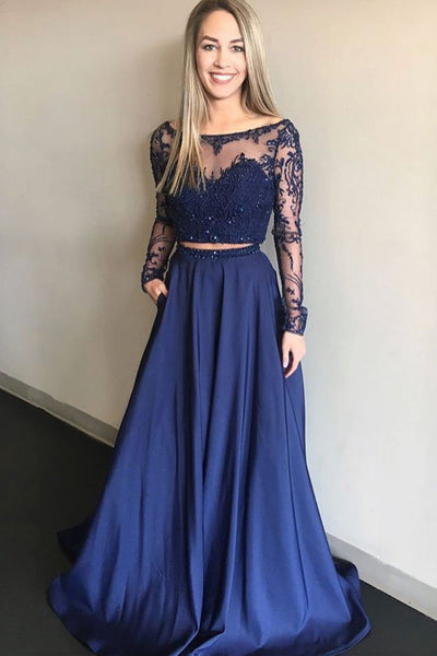 Navy Blue two pieces lace long prom dress, blue bridesmaid dress B509