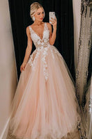 Pink Tulle Lace Long V Neck Prom Dress, Formal Dress B50