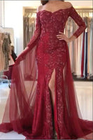Off The Shoulder Long Prom Dress, Popular Evening Dress ,Fashion Wedding Party Dress B512