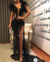 Black Long Prom Dress, Popular Evening Dress ,Fashion Wedding Slit Party Dress B514