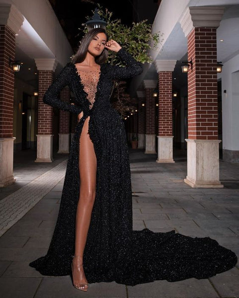 Black Long Prom Dress, Popular Evening Dress ,Fashion Wedding Slit Party Dress B515