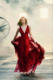 Burgundy v neck tulle long prom dress burgundy formal dress B518