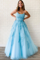Blue sweetheart lace tulle long prom dress blue lace evening dress B522