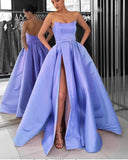 lilac satin long prom dress slit evening dress B527