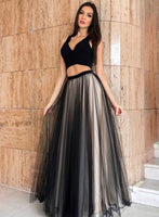 Black Tulle Long Two Pieces Evening Dress, Prom Dress B52