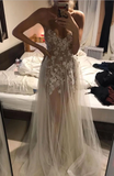 Light champagne tulle lace long prom dress lace formal dress B530