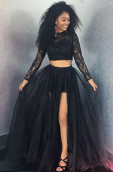 Black lace two pieces tulle long prom dress, black evening dress B540