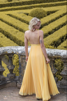 Yellow chiffon long prom dress, yellow evening dress B548