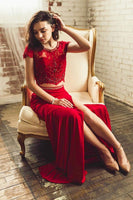 Red Lace Two Piece Short Sleeve Long Beaded Prom Dress, Evening Dress B54