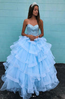 Blue sweetheart neck tulle beads long prom dress, blue evening dress B550