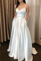 Simple v neck white long prom dress, white formal dress B552