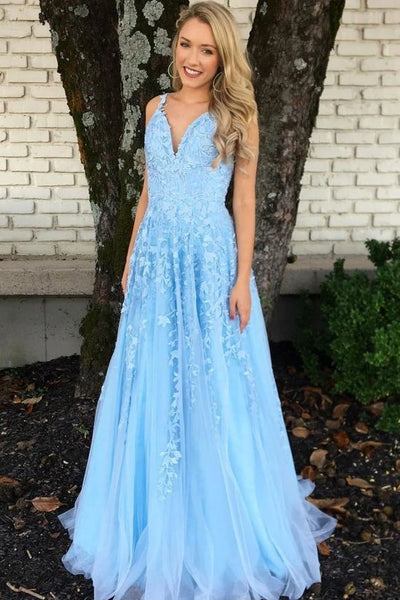 Blue v neck tulle lace long prom dress, blue tulle evening dress B555