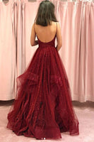 Burgundy tulle long prom dress, burgundy tulle evening dress B560