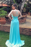 Simple blue chiffon long prom dress, blue chiffon evening dress B561