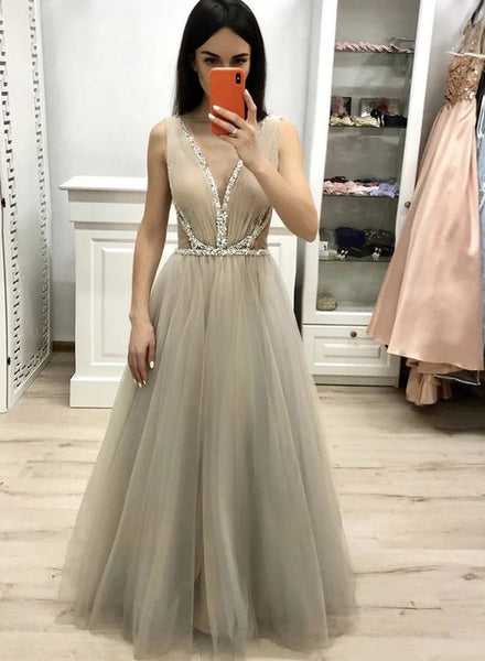 Stylish v neck tulle sequins long prom dress B568