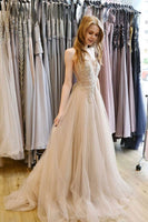 Light Champagne Tulle Lace Beaded V Neck Long Pageant Prom Dress, Evening Dresses B56