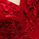 Burgundy v neck tulle lace long prom dress B571