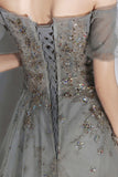 Sweetheart Neck Long Tulle Gray Dress, A Line Sequins Dress Prom Dress B576