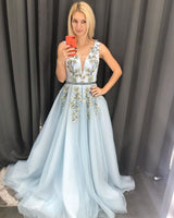 Baby Blue Tulle V Neck Long Sweet Prom Dress Appliques Evening Dress B583