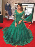 Green Tulle Lace Long Sleeve Dress A Line Lace Customize Winter Formal Dress B584